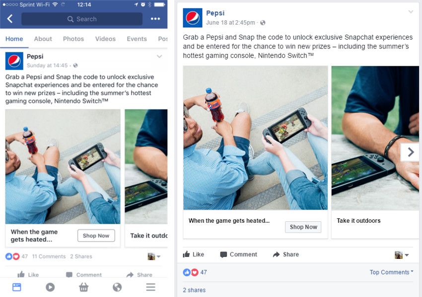 Picture of the Pepsi logo on Facebook in Mobile and Desktop posts