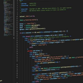 Image of Joomla code being edited in code editor used as image for blog post How to Edit Joomla Code on Production