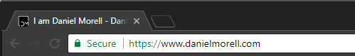 Image of web browser with https://www.danielmorell.com in the URL bar.